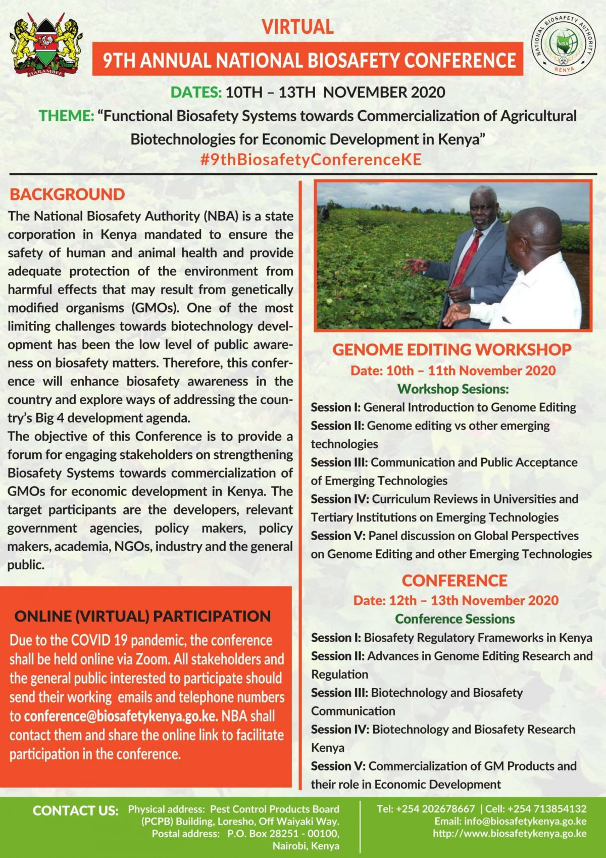 INVITATION TO 9TH ANNUAL BIOSAFETY VIRTUAL CONFERENCE ORGANIZED BY THE NATIONAL BIOSAFETY AUTHORITY, 12 TH -13 TH NOVEMBER 2020