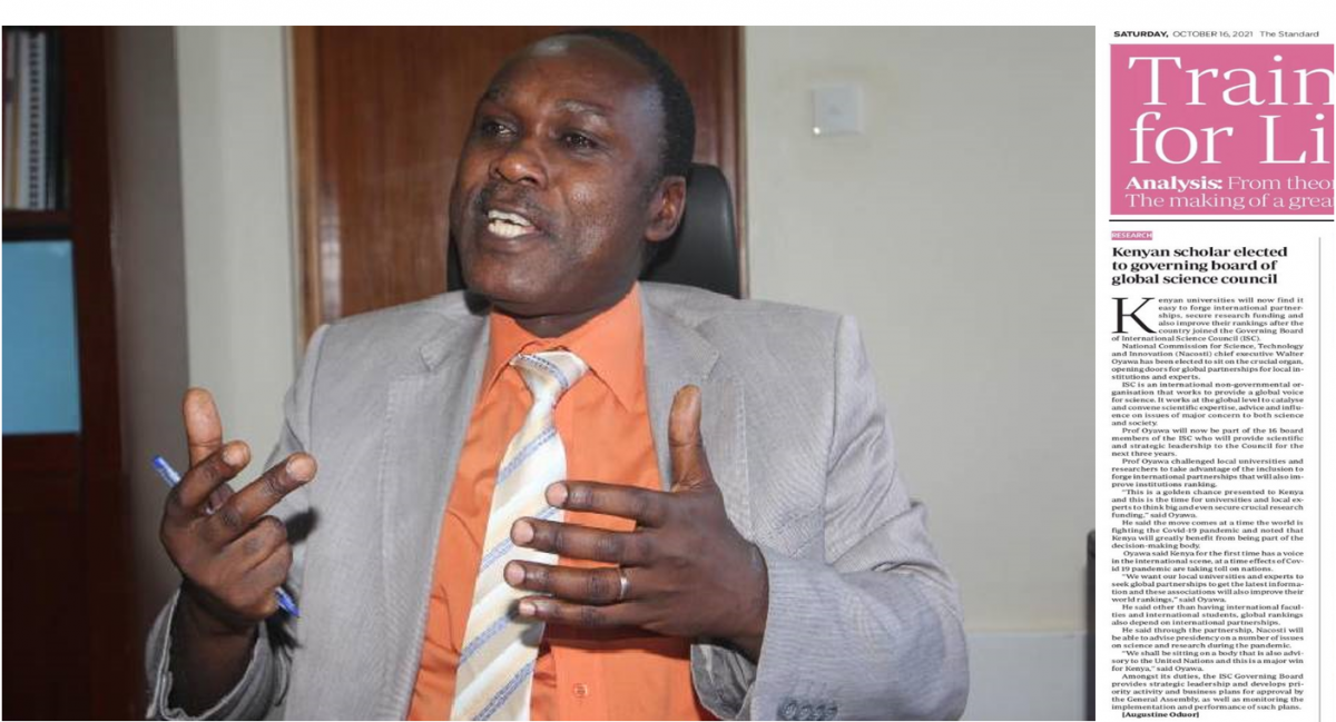 KENYAN SCHOLAR ELECTED TO GOVERNING BOARD OF GLOBAL SCIENCE COUNCIL